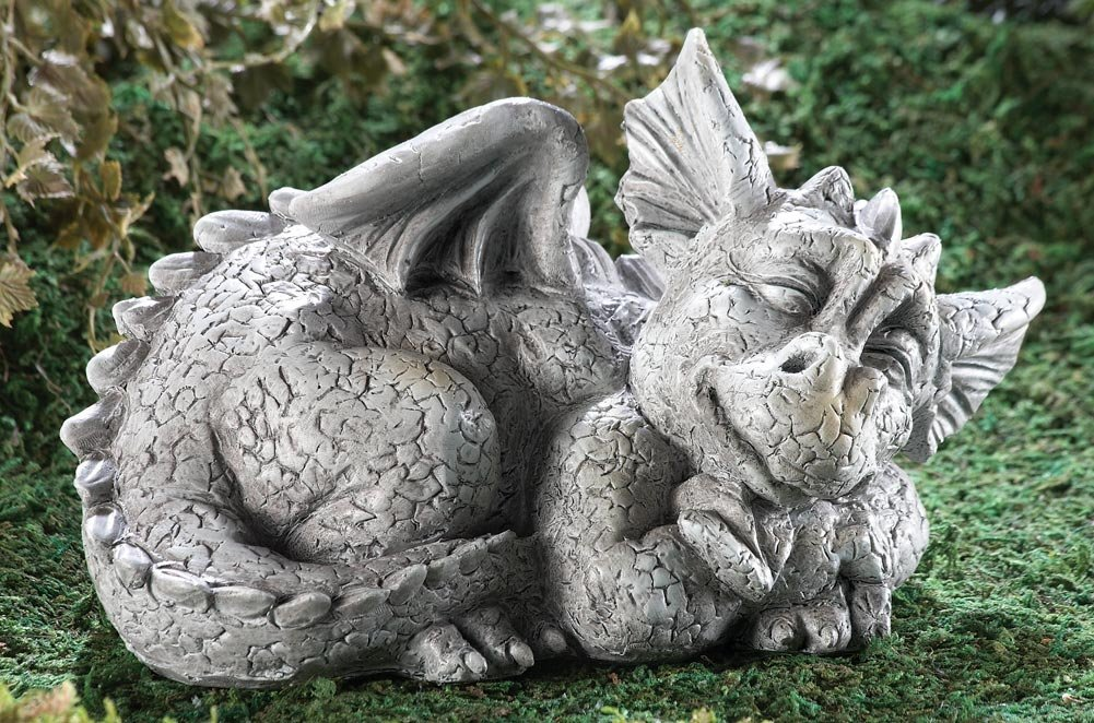 Mythical Sleeping Baby Dragon Garden Sculpture Left