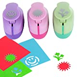 Paper Punch Hole Puncher -- (3 PACK Flowers Sun Happy Face) -- Personalized Paper Craft Punchers Shapes Set -- For Scrapbook Engraving Kids Artwork -- Greeting Card Making DIY Crafts (Color: Pink Green violet)