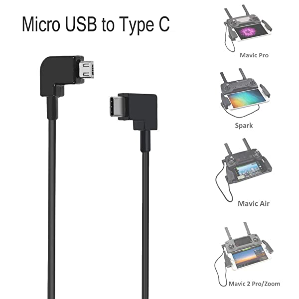 O'woda Micro USB to Type C Data Cable 90 Degree Cord for DJI MAVIC PRO / SPARK for USB-C Device Cellphone (Color: Micro USB to Type C)