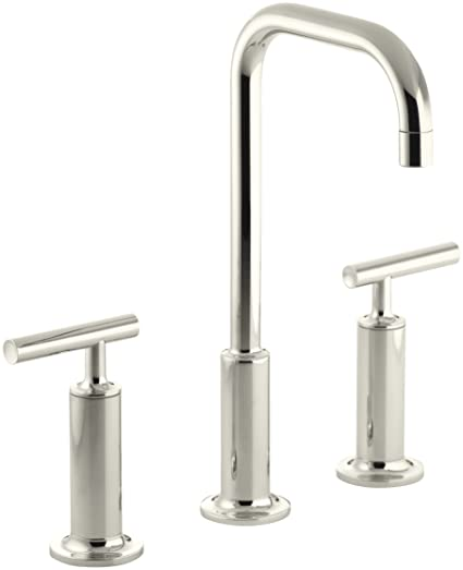 KOHLER K-14408-4-SN Purist Widespread Bathroom Sink Faucet with High Lever Handles and High Gooseneck Spout, Vibrant Polished Nickel