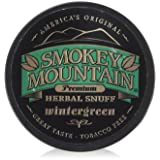 Smokey Mountain Premium Herbal Snuff WINTERGREEN - 1.0 Canister (5 Pack) Tobacco Free