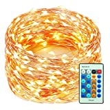 99 Feet 300 LEDs Copper Wire String Lights Dimmable with Remote Control, Decobree Christmas Lights with UL Listed for Party Wedding Bedroom Christmas Tree, Warm White (Color: 99 Feet Warm White)