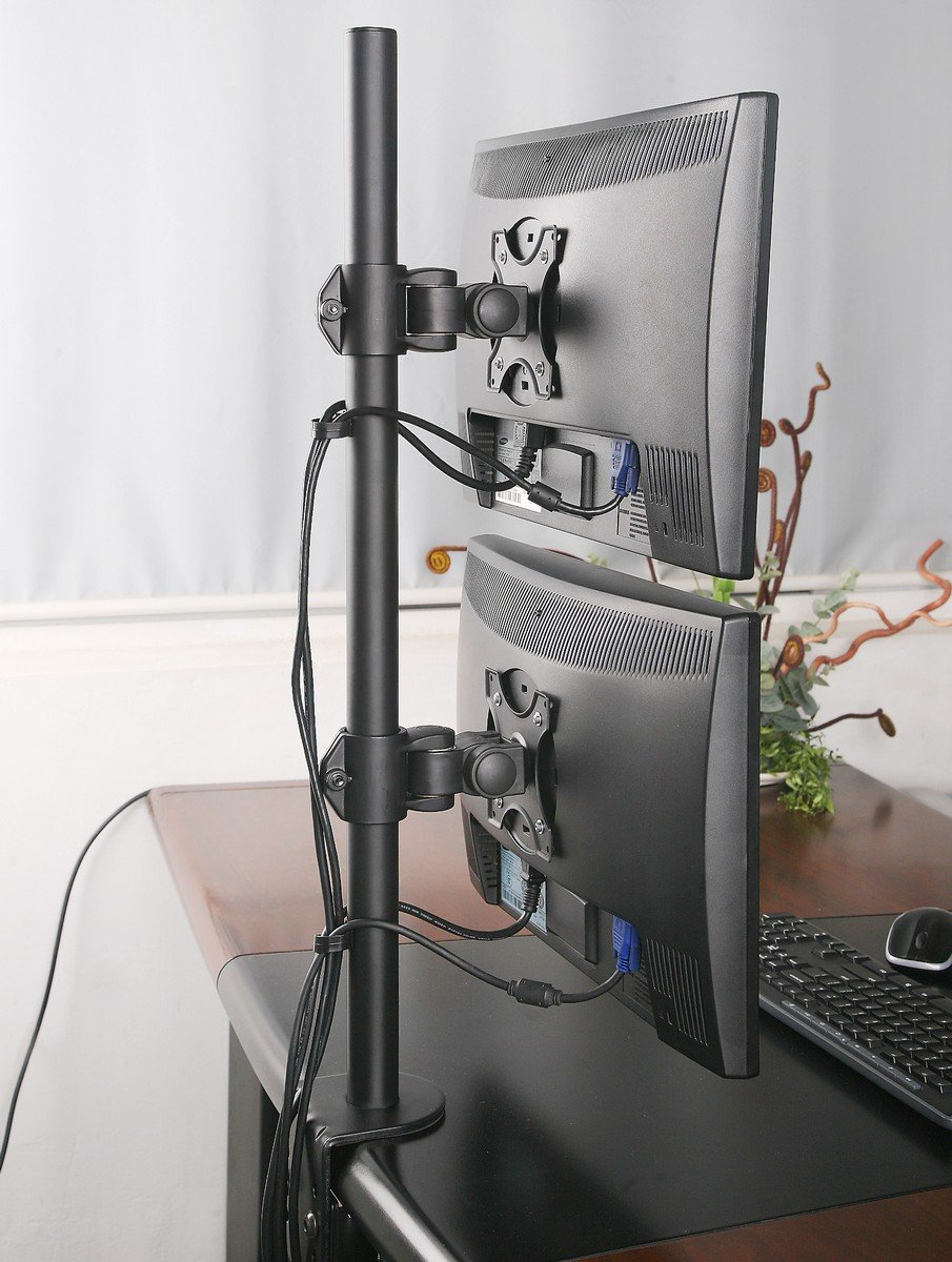 Dual LCD Monitor Desk Mount Stand Heavy Duty Stacked, Holds Vertical 2 Screens up to 27