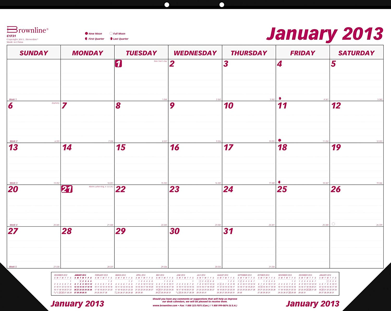 Brownline 2013 Monthly Desk Pad Calendar January December
