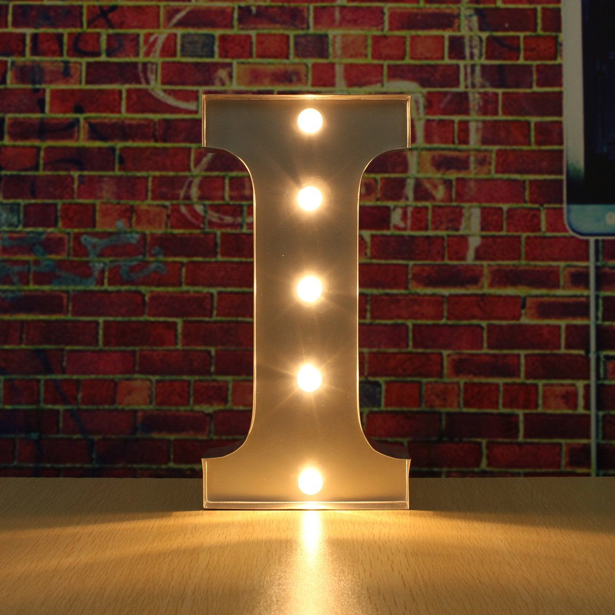 SOLMORE 30CM x 5CM LED Metal Marquee Letter Lights Vintage Circus Style Alphabet Light Up Sign Decoration I 0