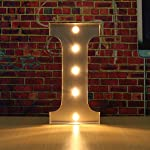 SOLMORE 30CM x 5CM LED Metal Marquee Letter Lights Vintage Circus Style Alphabet Light Up Sign Decoration I