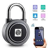 Fingerprint Padlock Thumbprint Bluetooth Lock USB Rechargeable IP65 Waterproof Ideal for Locker, Handbags, Golf Bags, Wardrobes, Gym, Door, Luggage, Suitcase, Backpack, Office, Android/iOS (Color: Gray, Tamaño: 1.86''x0.8''x3'')