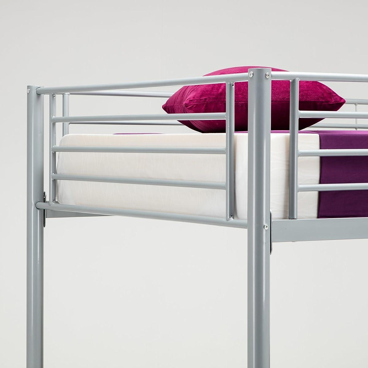 DFM Twin over Twin Metal Bunk Beds Frame Ladder Kids Adult Children Bedroom Dorm