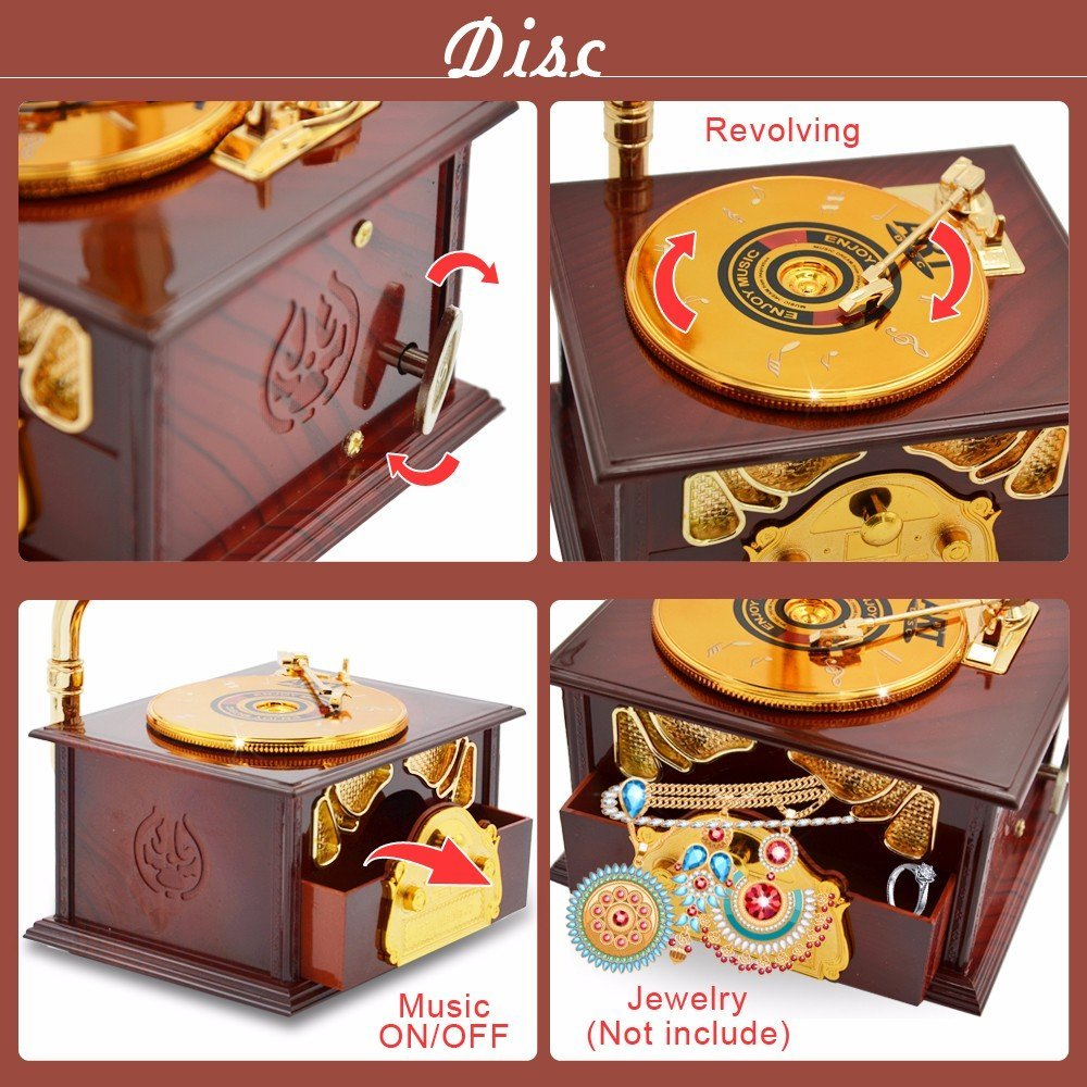 Fding Classical Trumpet Horn Turntable Gramophone Art Disc Music Box & Make up Case &Jewelry Box Home Decor (Brown) 4