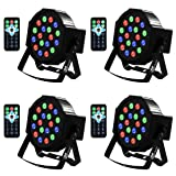 Uplights 18 RGB Led UpLights, Missyee Sound Activated DMX Uplighting, LED Par Can Lights with Remote Control, DJ Uplighting Package for Wedding Birthday Home Party (4 pcs) (Color: 18Led (4 packs), Tamaño: 18Led 4 packs)