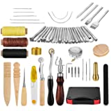 JOYPEA Leather Craft Hand Tools Kit 59 Pieces for DIY Hand Sewing Leather Artwork Stitching Stamping Set and Saddle Making