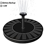 LATITOP Upgraded 1.5W Solar Fountain Water Pump with Battery Backup, Free Standing, Submersible, for Bird Bath, Garden, Back Yard and Small Pond.