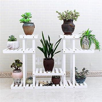 Weißer Blumenständer Mehrgeschossiger Boden Gruner Rettich Blumenregal Blumentöpfe Hängender Plank Balkon Innen- und Außenraum Wohnzimmer Racks