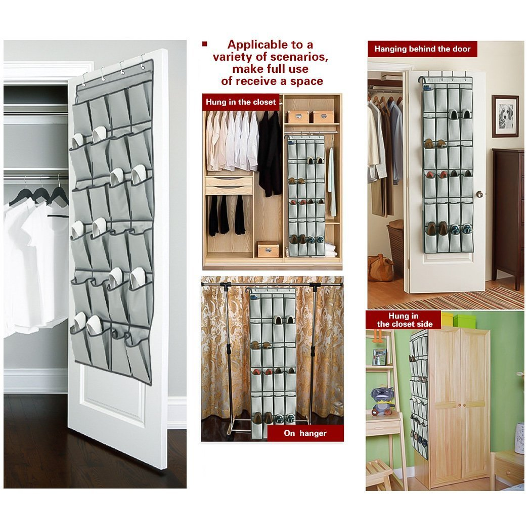 Over The Door Shoe Organizers -24 Pockets and Hanging Closet Organizer Storage Rack 4 Customized Over the Door closet door shoe organizer Hooks