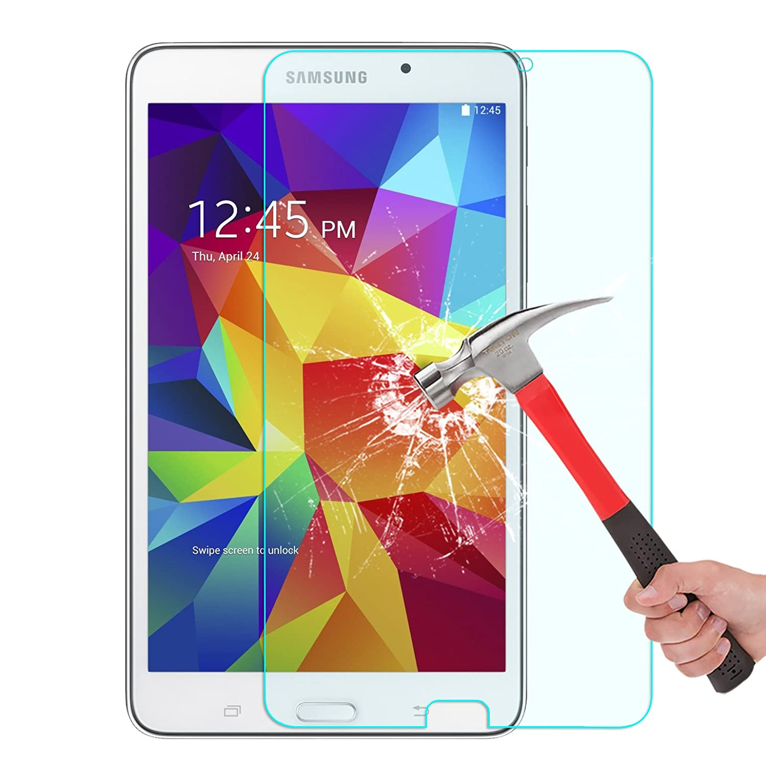 Samsung Galaxy Tab 4 7.0 Screen Protector, OMOTON Tempered Glass Screen Protector for Galaxy Tab 4 7-inch with (Anti Explosion) (9H Hardness) (High Definition) (Scratch Resist)(Lifetime warranty)