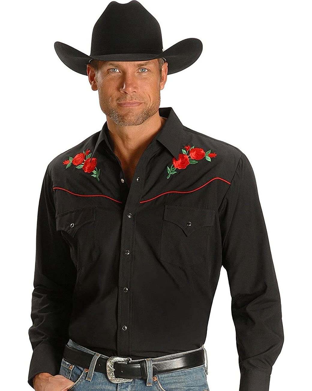 Ely Cattleman Men's Embroidered Rose Design Western Shirt - 15203901-88Blk 0