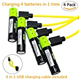 USB Rechargeable Batteries AA Cell Battery Pack 1250mAh High Capacity with Micro USB charging cable (4 pack) (Tamaño: battery_type_aa-4 pack)