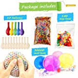 Water Beads Pack (30000 Small Water Beads /150 Large Jumbo Water beads/15 Balloons) Mixed Jelly Beads Water Gel Balls,Sensory Toys and Decoration (Color: multicolored)