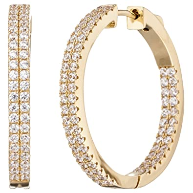 Jobo Creole Earrings Round 925Sterling Silver Gold Plated Cubic Zirconia Earrings
