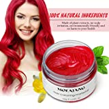 Natural Red Hair Wax,Efly 4.23 oz-Disposable DIY Hairstyle Colors Hair Mud Cream Ash Fashion Hair Style Wax for Party Cosplay Easy Cleaning (Red)