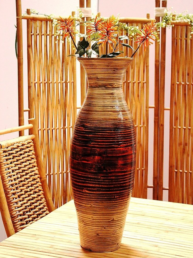 Bamboo Decorative Floor or Table Accent Vase