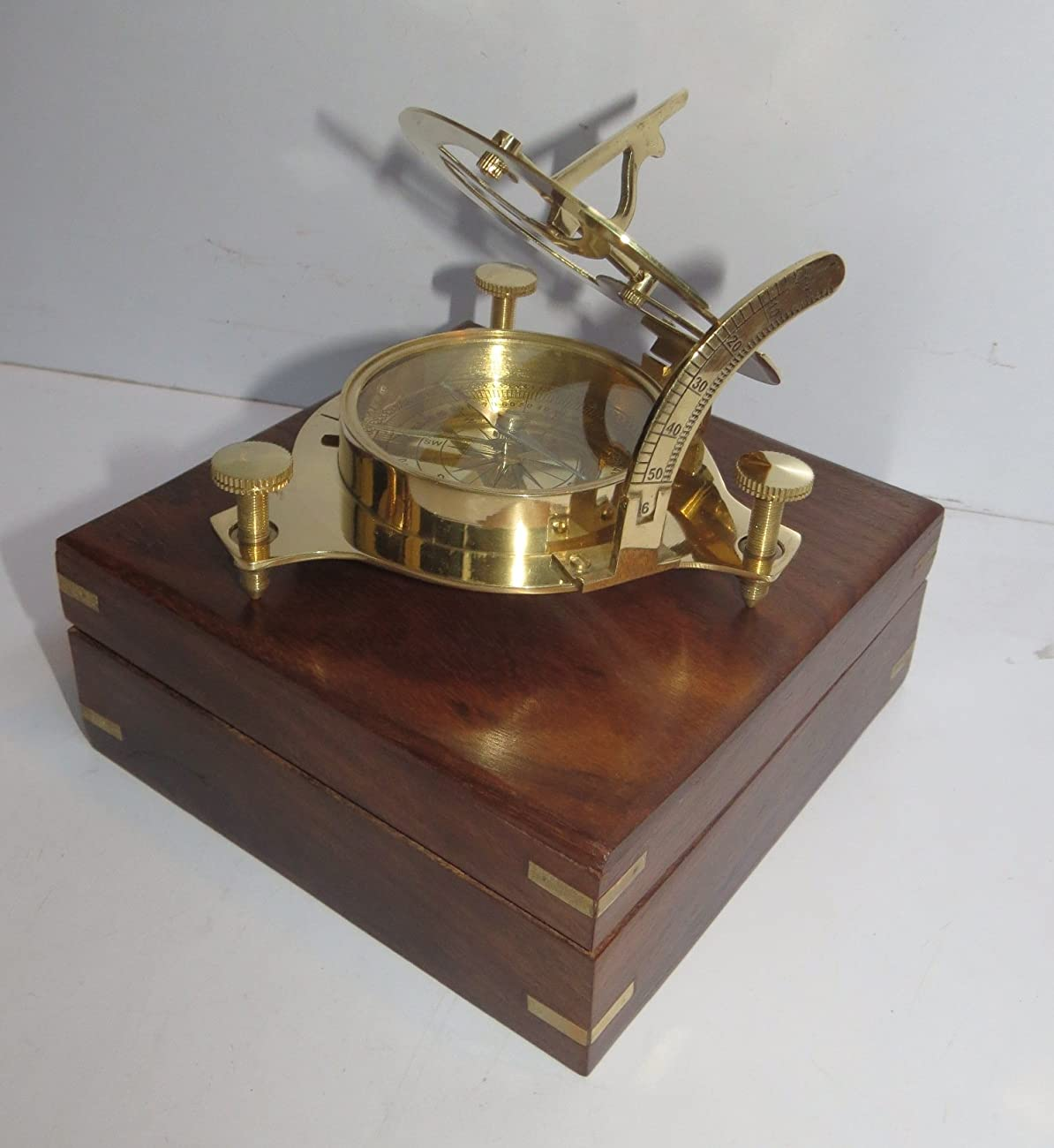 Captain Brass Sundial Compass with Hardwood Wooden Box Nauticalmart 0