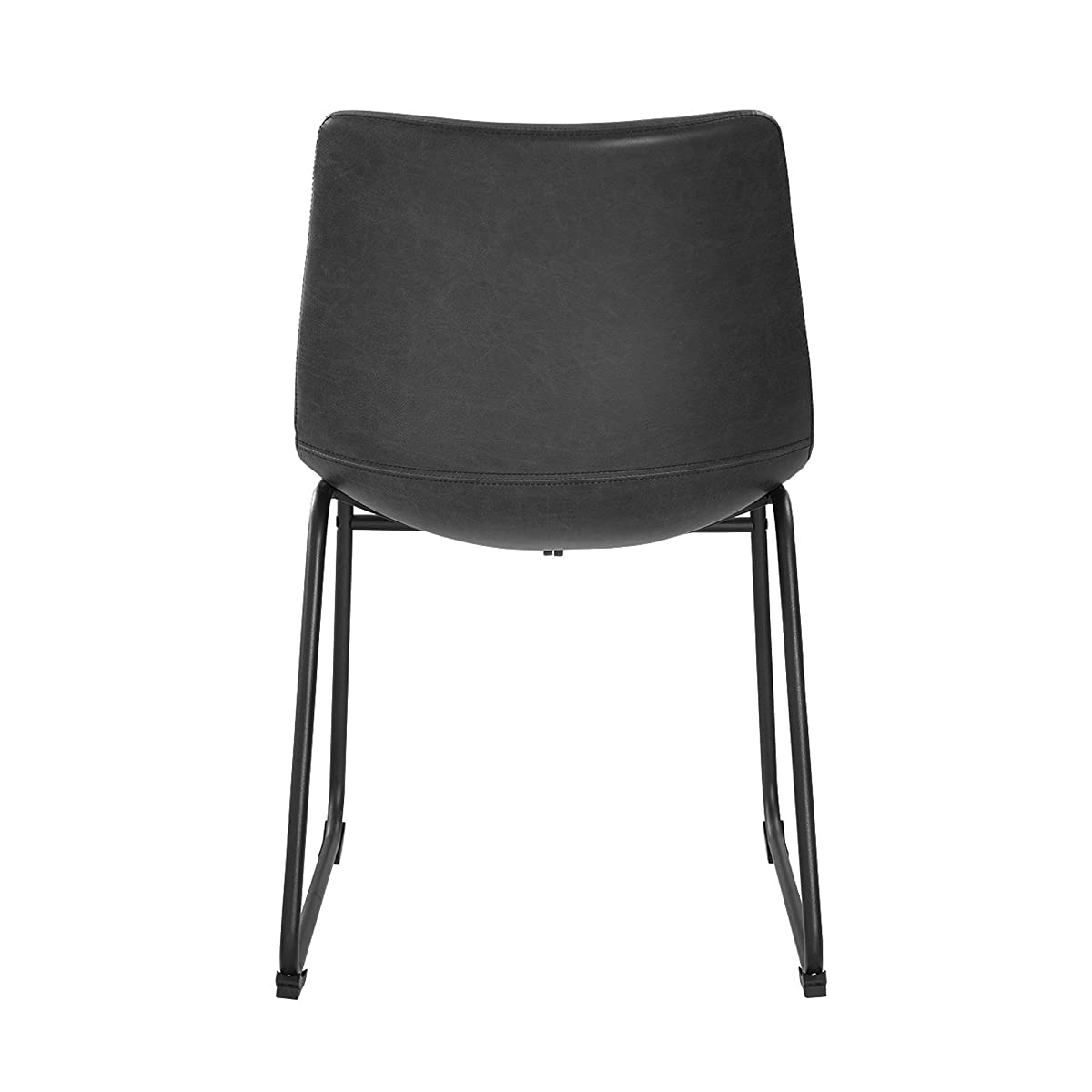 WE Furniture Black Faux Leather Dining Chairs, Set of 2