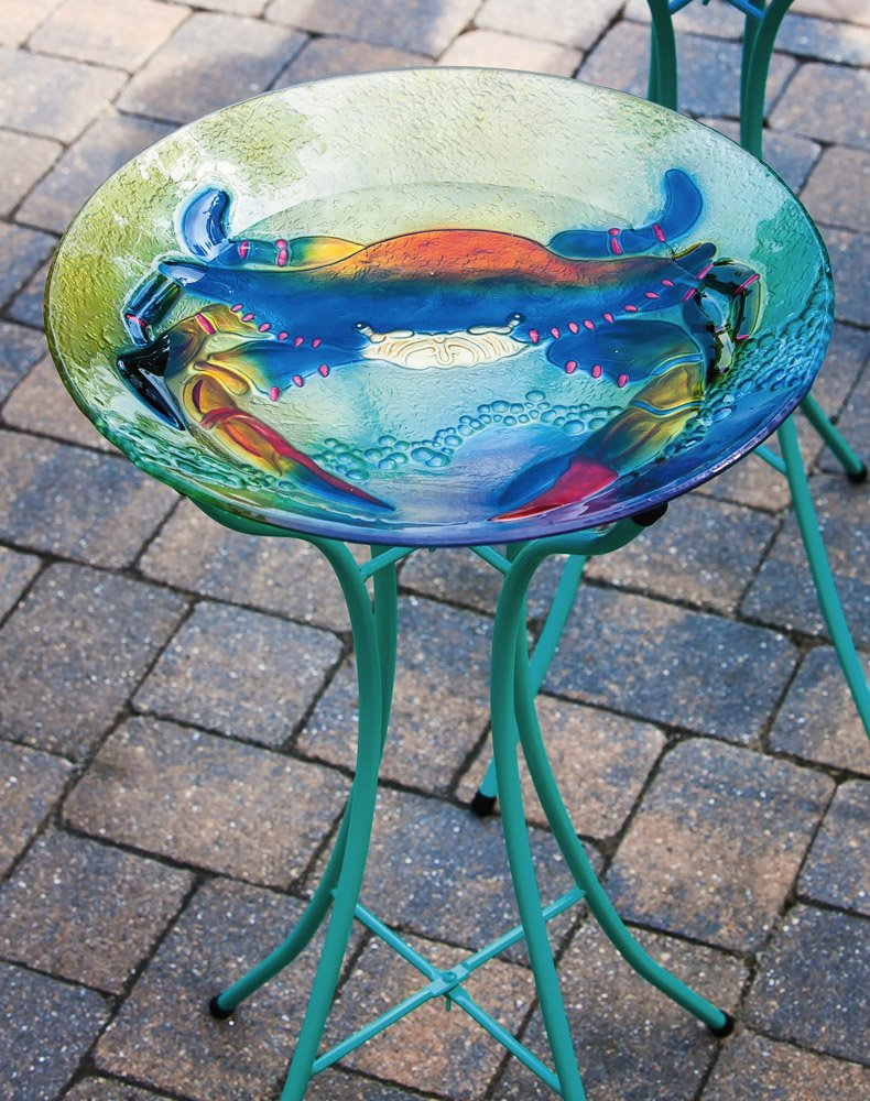 "Evergreen Coastal Crab Glass Bird Bath Bowl - 18""L x 18""W x 3""H"