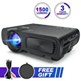Portable Multimedia Projector 1500 Lumens Mini LED Video Projector Support 1080P HD Phone ipad Laptop TV Computer HDMI VGA USB AV TF for Home Cinema Theatre Game Outdoor Movie Party (Black) (Color: Black)