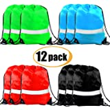 Drawstring Backpack Bags - 12 Pack Reflective Sack Backpack Sport Gym Cinch Bag Travel Fabric Drawstring Backpacks