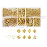 Pandahall 1 Box Jewelry Making Supplies Kits with Earring Hooks/Bead Caps/Eyepins/Jump Rings (Golden) (Color: Kits-2)