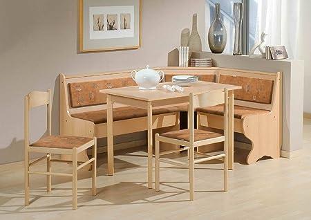 Dreams4Home Eckbankgruppe 'Caro' Essgruppe 166 x 126 x 83 cm Tisch 2 Stuhle modern Buche Dekor terracotta Eckbank Kuchentisch 4-teilig Landhaus Kuche