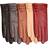 WARMEN Elegant Women Genuine Nappa Leather Winter Warm Soft Lined Gloves (M, Burgundy)