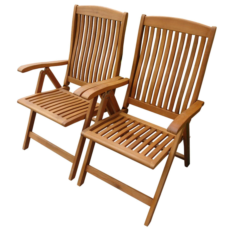 indoba® IND-70002-ST – Serie Sun Flair – 2 x Gartenstuhl aus Holz FSC zertifiziert – fünffach verstellbar, klappbar – 2 Stück online kaufen