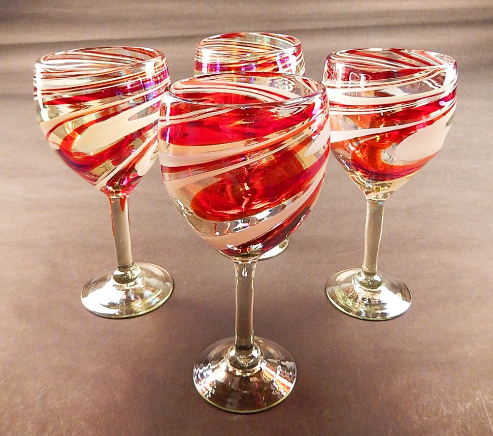 Peppermint christmas wine glasses christmas wikii for Holiday stemware