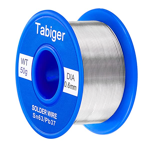 Tabiger 63/37 Tin Lead Rosin Core Solder Wire for Electrical Soldering and DIY (0.6mm 50g) with Extra 2% Rosin (Color: 0.6mm/50g)