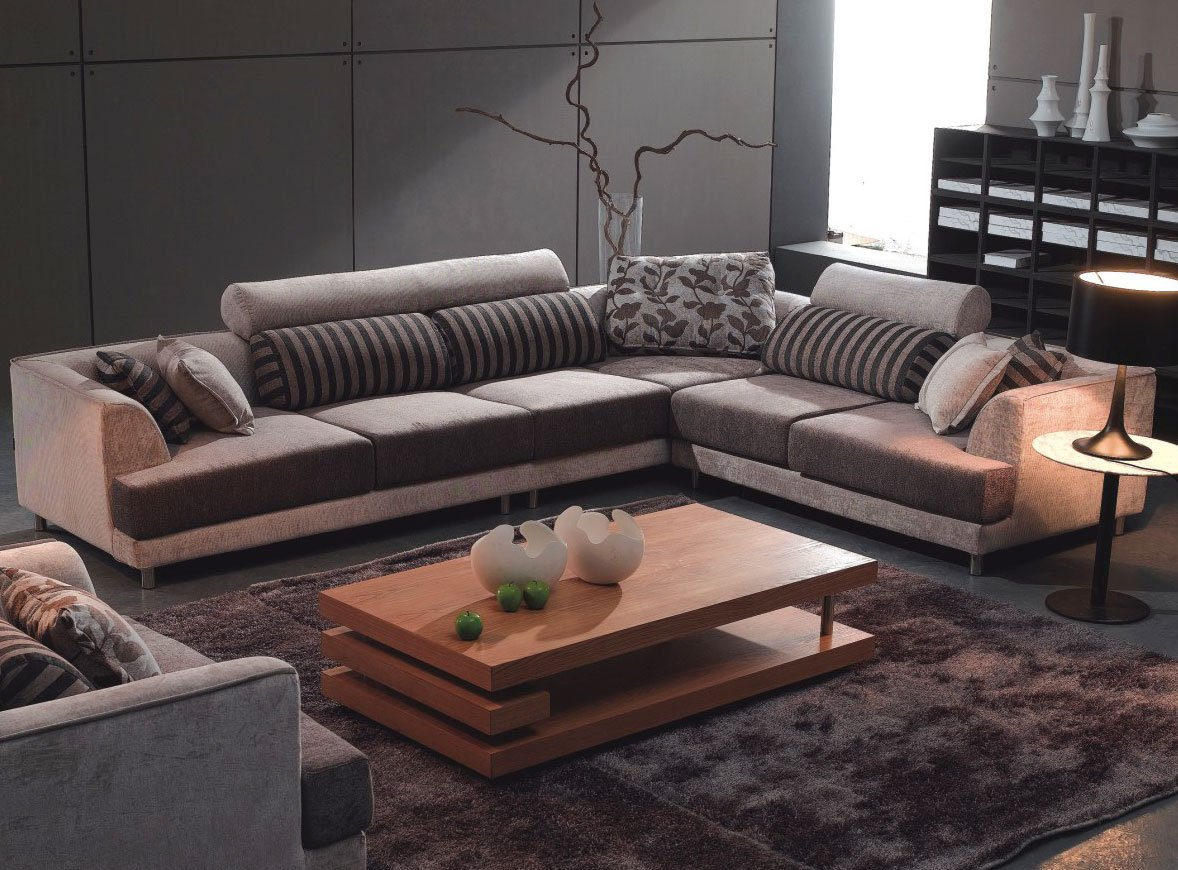Tosh Furniture Modern Beige Fabric Sectional Sofa & Chair