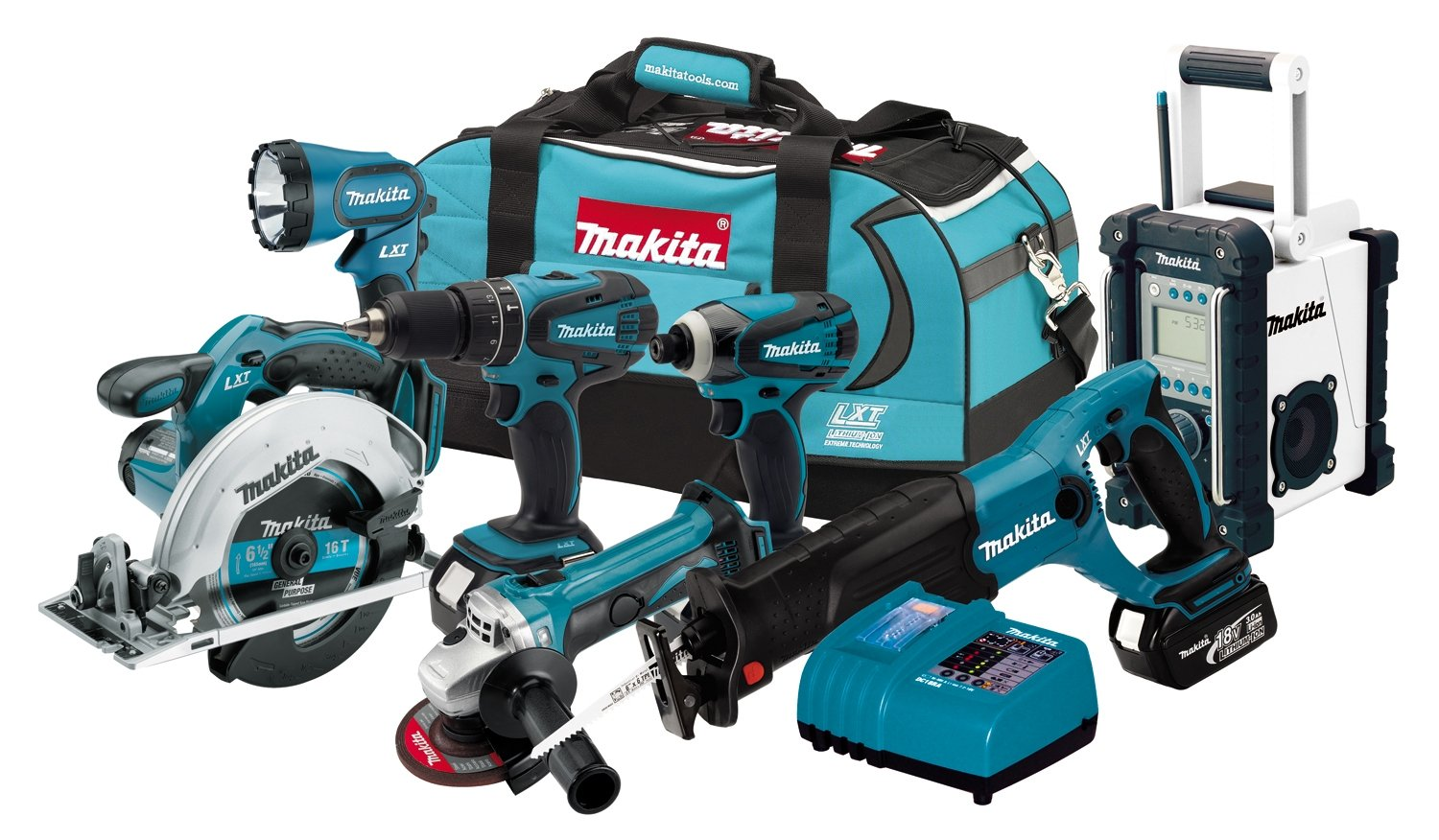 makita lxt702 18 volt lxt lithium ion cordless 7 piece. Black Bedroom Furniture Sets. Home Design Ideas