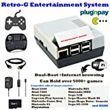 Retro-G Console Emulator mini NES Nintendo Styled Classic Games Entertainment System + Raspbian for Internet Browsing (dual-boot) + All-In-One Bundle + HDMI Video TV (Color: White and Grey)