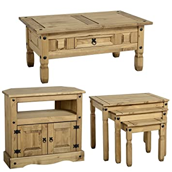 Table basse Corona Lot de 3 Tables gigognes et Meuble TV d'angle Stand Set