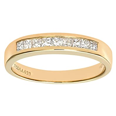 Naava 9 ct Yellow Gold 0.33ct Princess Cut Diamond Channel Set Half Eternity Ring, Yellow Gold, K