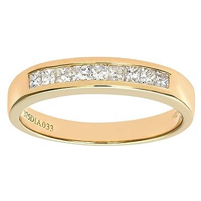 Naava 9 ct Yellow Gold 0.33ct Princess Cut Diamond Channel Set Half Eternity Ring, Yellow Gold, K