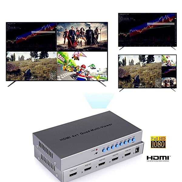 BeElion 4x1 HDMI Quad Multi-Viewer, HDMI Switcher 4 Ports