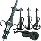 Leeche Premium Solid Wood Electric Violin Full Size 4/4 Advanced 3-Band-EQ Electric Silent Art White Flowers Violin Kit With Case,Bow,Rosin,headphones,Shoulder Rest,Strings,Finger Guide