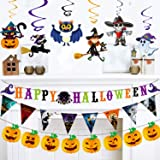Adoreu Happy Halloween Banner Bunting Halloween Garland Triangle Flag with Hanging Foil Swirls for Halloween Party Decoration Home Ceiling Doorway Décor