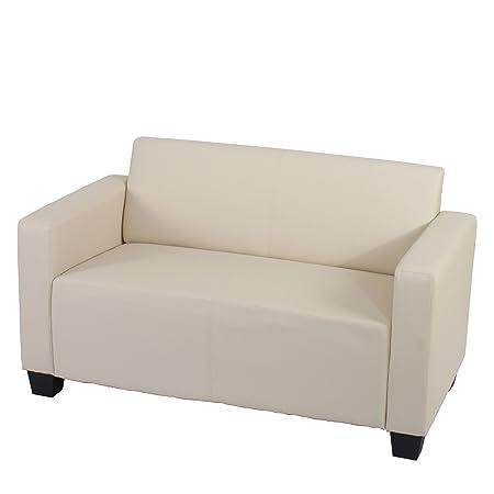 2er Sofa Couch Lyon Loungesofa Kunstleder ~ creme