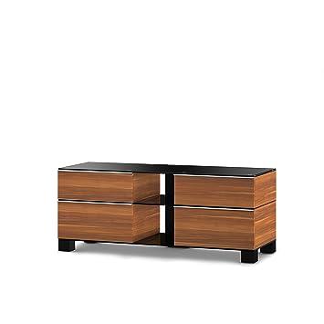 Sonorous MD 9220-B-HBLK-APL Fernseher-Möbel mit Schwarzglas (Aluminium Hochglanz, Korpus Holzdekor) apfel/schwarz