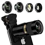 Phone Camera Lens, AFAITH 5-in-1 Phone Lens kit-9X Zoom Telephoto Lens, 0.4X Super Wide & 180° Fisheye Lens, 0.63X Wide and 15X Macro Lens for iPhone X/XR/8/7/6S, Samsung S9/8/Note 9/8/S6, LG (Color: Normal Lens, Tamaño: Normal Lens)
