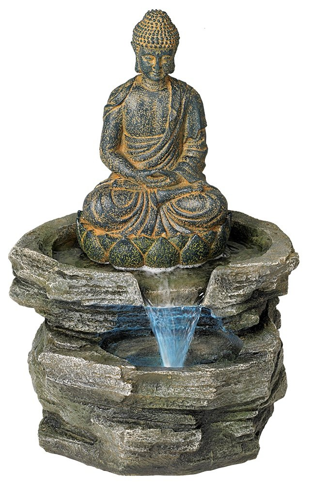 Beautiful buddha fountains for indoor and outdoor garden sitting buddha led water fountain workwithnaturefo