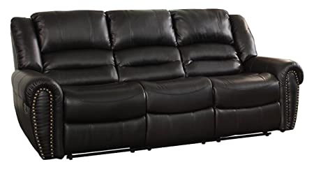 Homelegance 9668BLK-3 Double Reclining Sofa, Black Bonded Leather